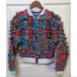 Vintage 80s/90s Patchwork Plaid Rag Bomber Jacket